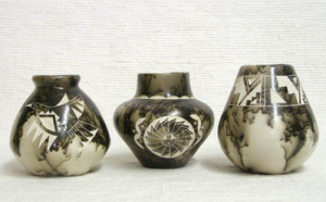 Native American Made Ceramic Horsehair Pots