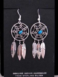 Native American Navajo Made Sterling Silver Dreamcatcher Earrings