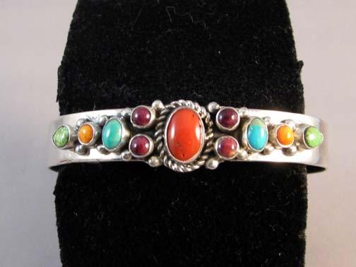 Native American made multistone cuff bracelet