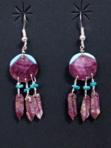 Zuni made purple spiny oyster earrings