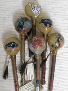 Navajo made painted rawhide rattles