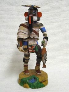 hopi carved left handed hunter katsina doll