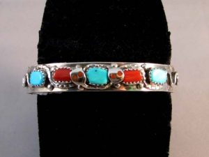 zuni turquoise and coral cuff bracelet