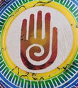 Native American Symbol with Hand and Spiral