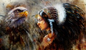Native American Woman with an Eagle