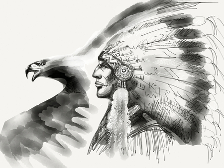 Eagle with Native American Chief Drawing