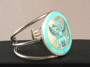 Native American Zuni Made Cuff Bracelet with Turquoise